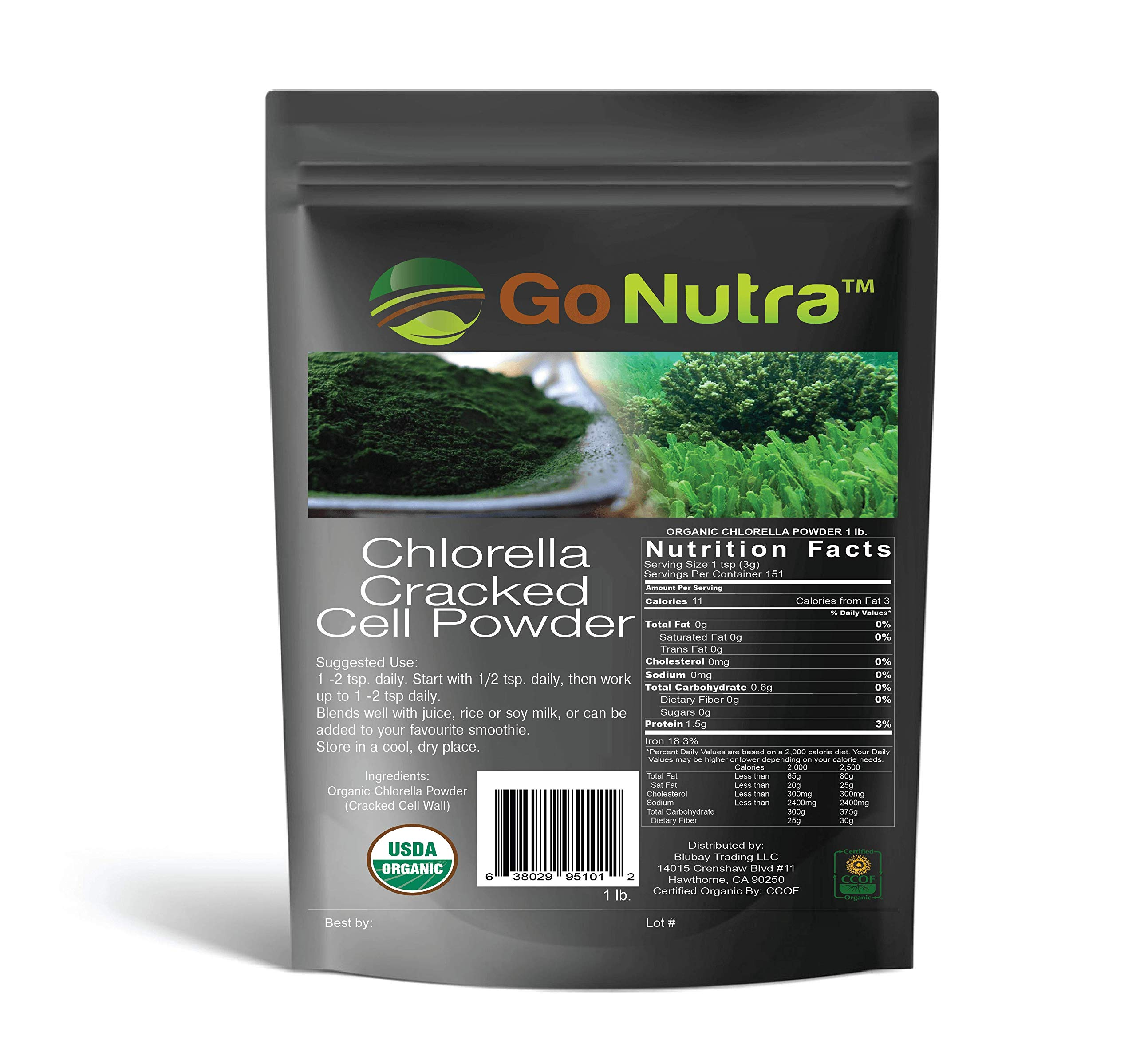 Chlorella Powder 5 lbs Organic, raw, Non-GMO. 100% Pure Cracked Cell Wall Green Superfood High Protein Chlorophyll for Smoothie Vegan Supplement