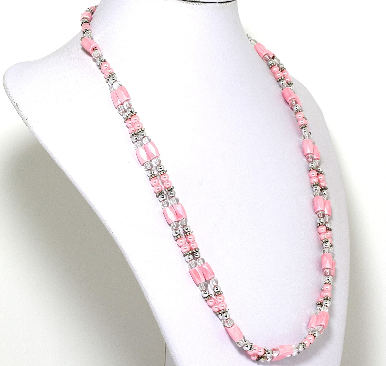 AnsonsImages 37 Inches Long Magnetic Wrap Necklace Choker Bracelet Anklet Lariat Pink