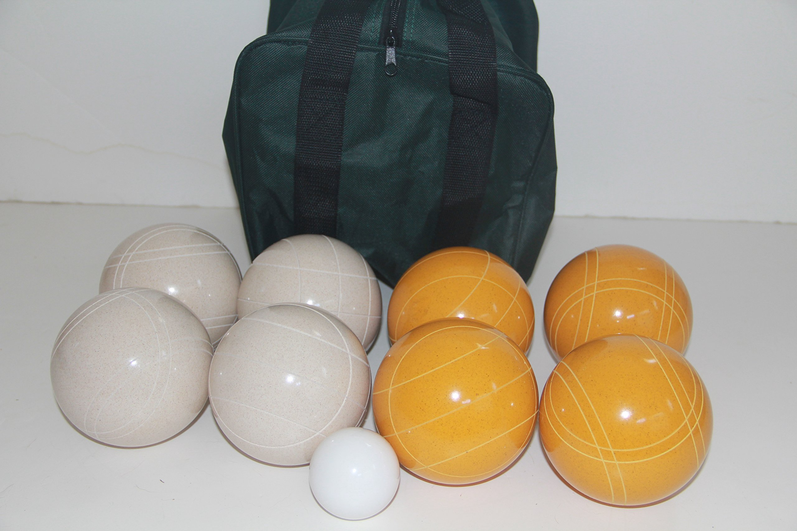 Premium Quality and American Made, 110mm EPCO Bocce Set - Rustic Yellow/White balls and green/black bag