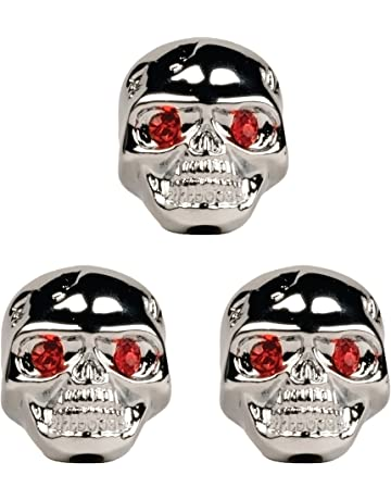 Seismic Audio - SAGA45 - Set of 3 Adjustable Fit Chrome Skull Electric Guitar Knobs with