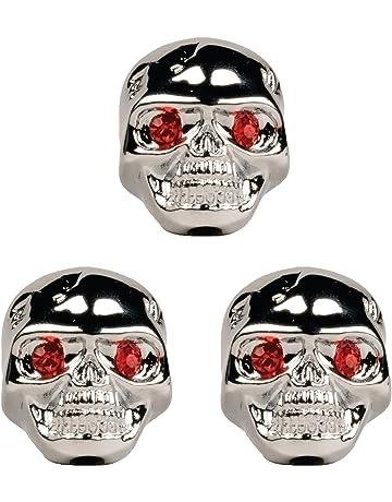 Seismic Audio - SAGA45 - Set of 3 Adjustable Fit Chrome Skull Electric Guitar Knobs with