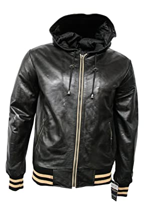 f3757ca0c8d8 Smart Range Men's Hip Hop Hammer Baseball Black Real Lambskin Leather Hooded  Slim Fitted Stylish Hip