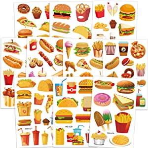 Konsait Food Temporary Tattoos for Kids, Ice Cream Hamburger French Fries Donuts Fake Waterproof Tattoo Stickers for Children Girls Boys Birthday Party Summer Party Cosplay Supplies