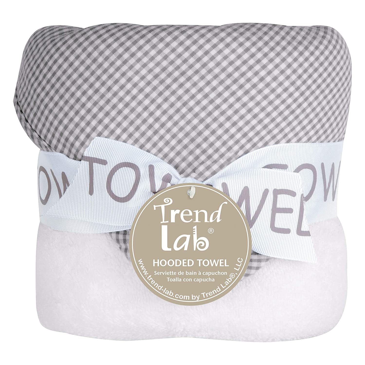 Amazon.com : Trend Lab Gray Deluxe Hooded Towel, Gingham Seersucker : Baby