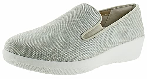 881213fd7a3 FitFlop Womens Superskate Houndstooth Print Suede Loafers Cream Urban White  Slip-On - 6.5