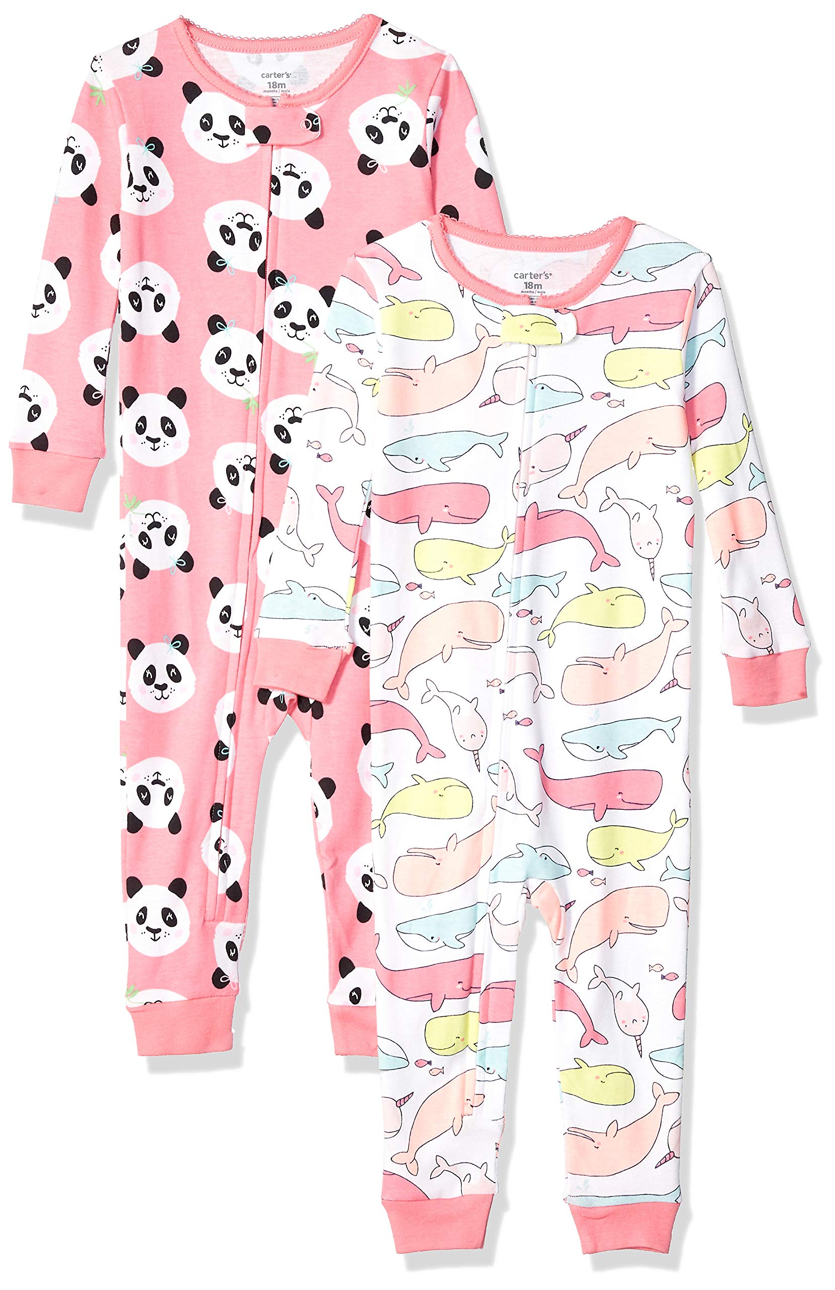 Carter's Baby Girls 2-Pack Cotton Footless