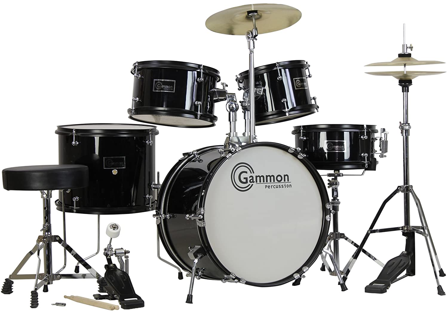 Amazon Gammon 5 Piece Junior Starter Drum Kit With Cymbals Hardware Sticks Throne