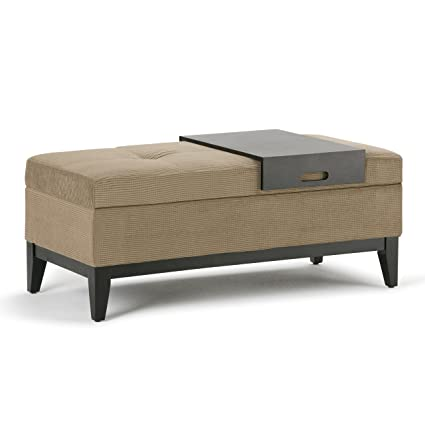 Simpli Home Oregon Rectangular Storage Ottoman Bench With Tray, Tan Chenille