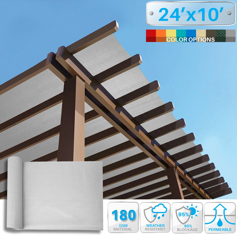 PATIO 24' x 10' Sunblock Shade Cloth Roll,Light Grey Sun Shade Fabric 95% UV Resistant Mesh Netting Cover for Outdoor,Backyard,Plant,Greenhouse,Barn