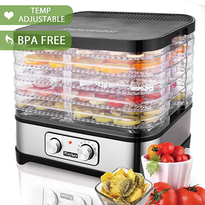 Food Dehydrator Machine by Electricity,5 Trays/Knob Button/250W/Temperature adjustable(95-158℉)