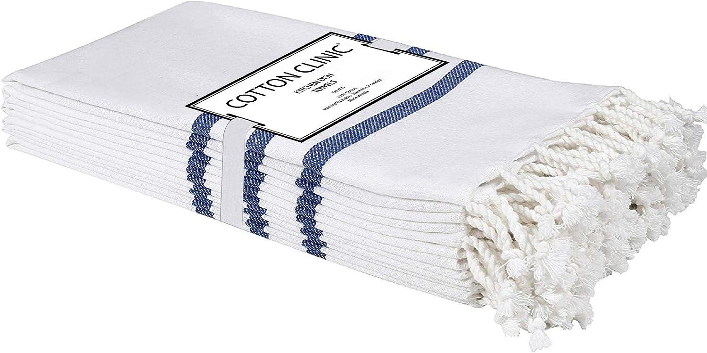 Cotton Clinic Turkish Peshtemal Kitchen Dish Towels 6 Pack Extra Large 18x28, Dish Cloths, Bar Towels, Tea Towels and Cleaning Towels, Kitchen Towels with Hanging Loop, Navy White