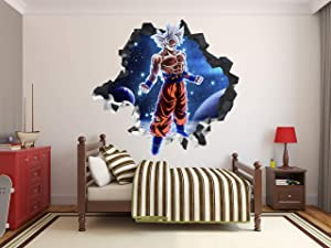 Dragon Ball Super Goku Ultra Instinct Sayan Wall Decal 3D Sticker Vinyl Decor Mural Kids g0720 (22