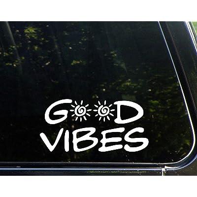 "Good Vibes - 8"" x 4"" - Vinyl Die Cut Decals/Bumper Stickers For Windows, Cars, Trucks, Laptops, Etc.: Automotive"