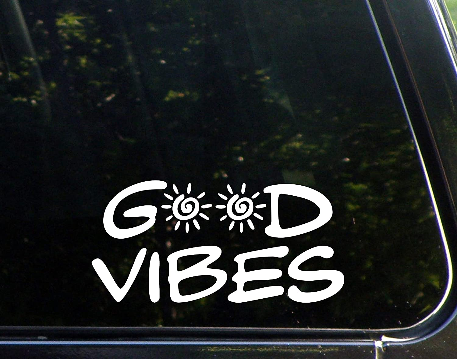 Amazon com good vibes 8 x 4 vinyl die cut decals bumper stickers for windows cars trucks laptops etc automotive