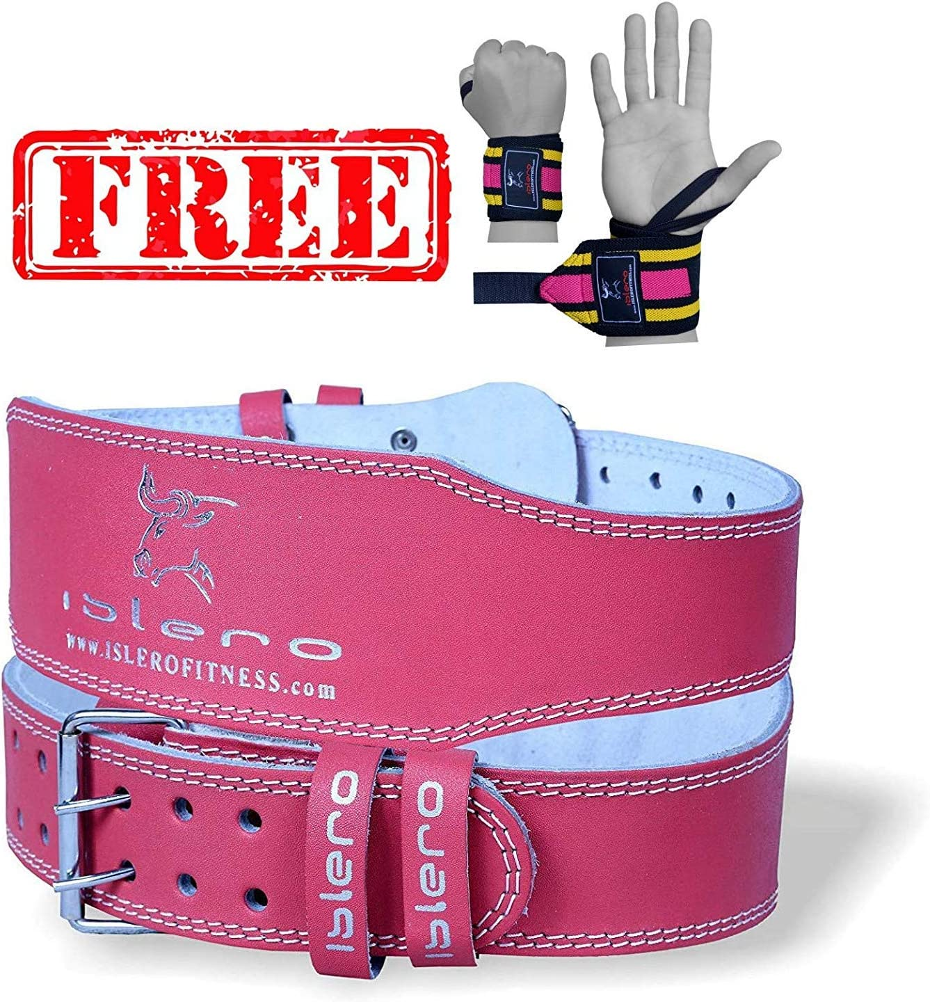 """EVO 6/"""" 4/"""" Ladies Pink Pure Leather Gym Belts Weightlifting Back Support Strap"""