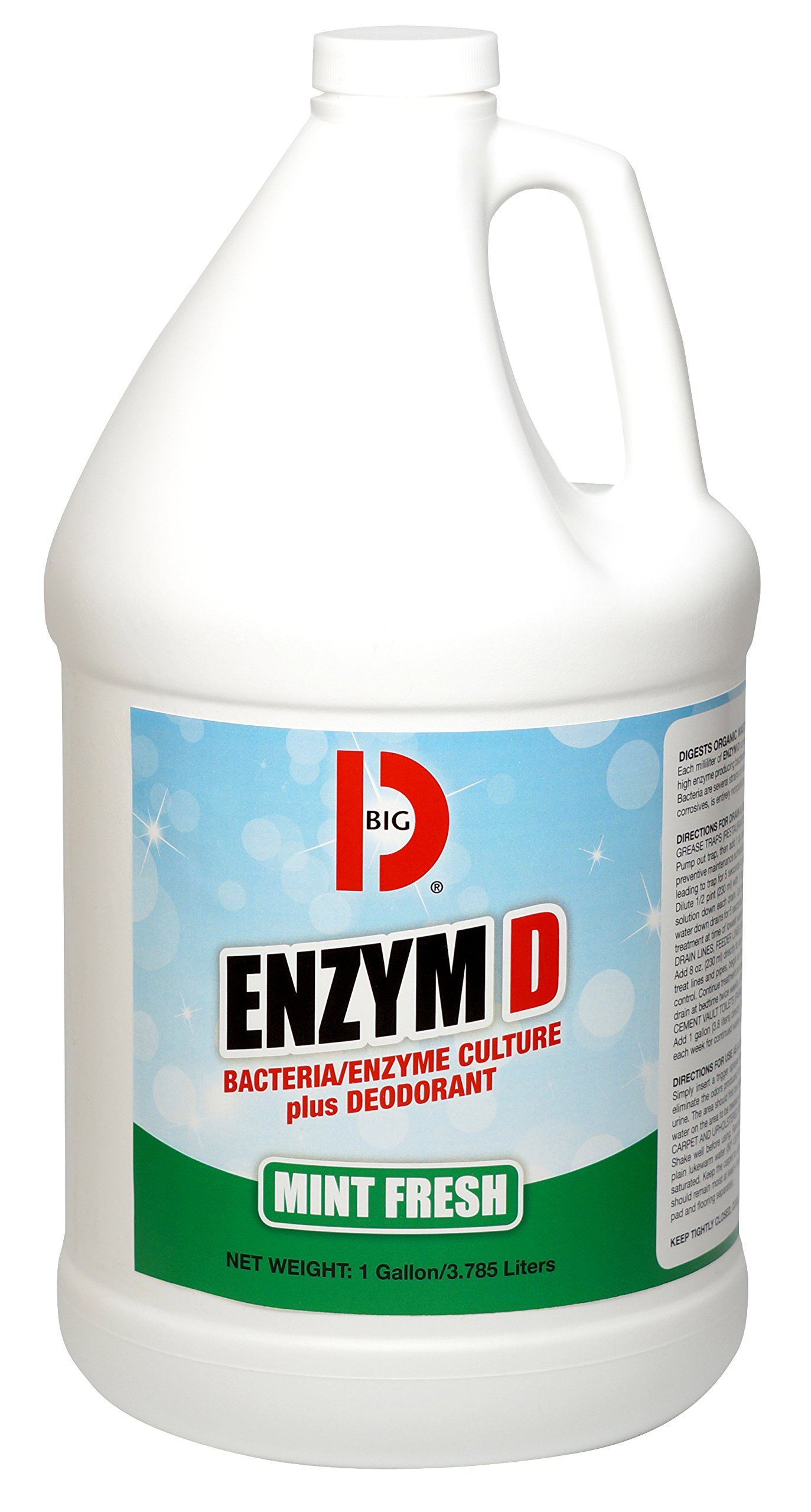 Big D 1504 Enzym D Digester Deodorant, Mint Fresh Fragrance, 1 Gallon (Pack of 4) - Breaks down organic waste and destroys odors - Ideal for use on urine in restrooms and carpets by Big D