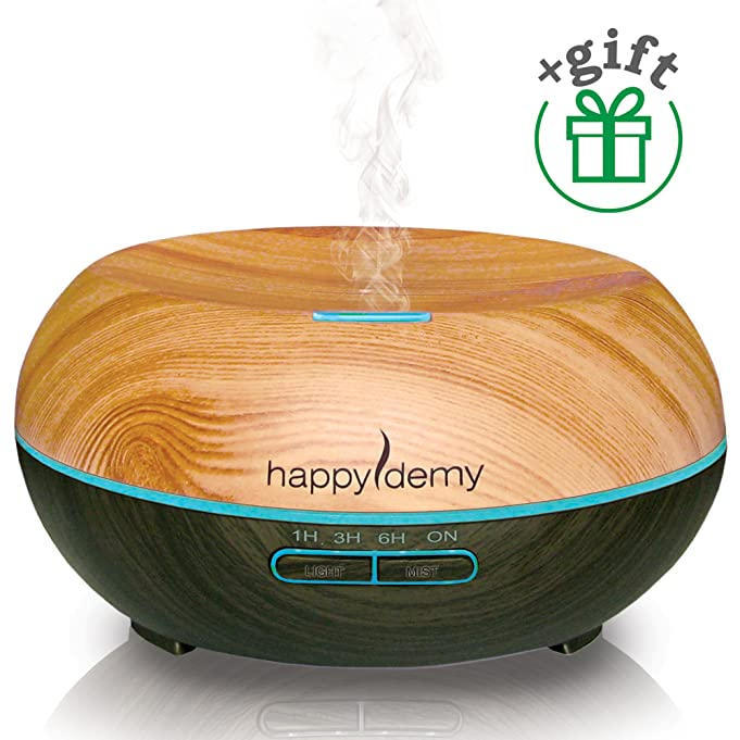 Ultrasonic aromatherapy diffuser, Happydemy, + Gift, Essential Oil Diffuser Humidifier Cool Mist, best spa room Diffuser with 7 Colors & 4 Timer Settings