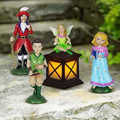 "Exhart Neverland Mini Figurine Set – 4 Piece Mini Statue Garden Set Featuring Peter Pan, Tinkerbell, Wendy and Captain Hook – Decorative Resin Statues for a Fairy Garden 2"" L x 2"" W x 5"" H : Garden & Outdoor"