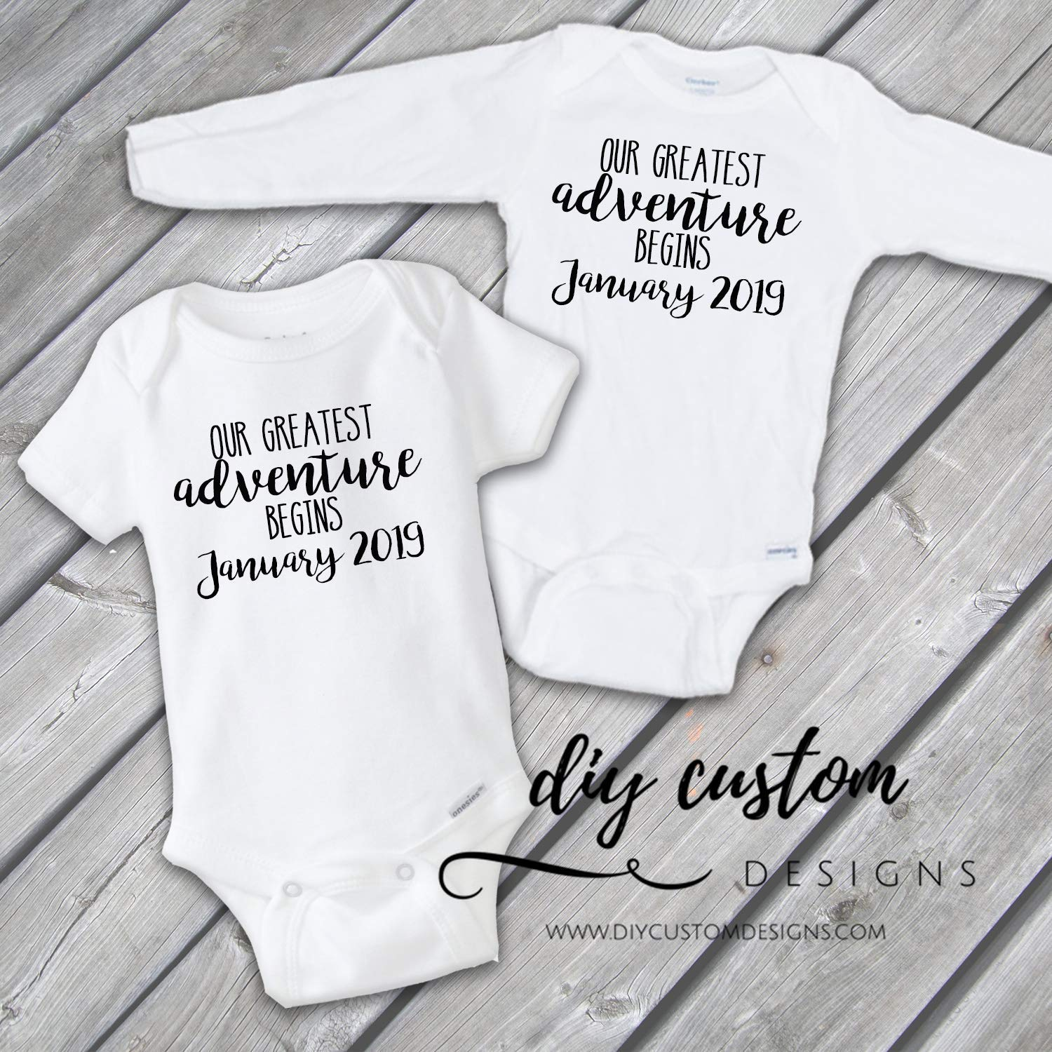Baby Announcement Onesies® , Pregnancy Announcement, Pregnancy Reveal, Our Greatest Adventure Begins Baby Onesies® , Baby Bodysuit