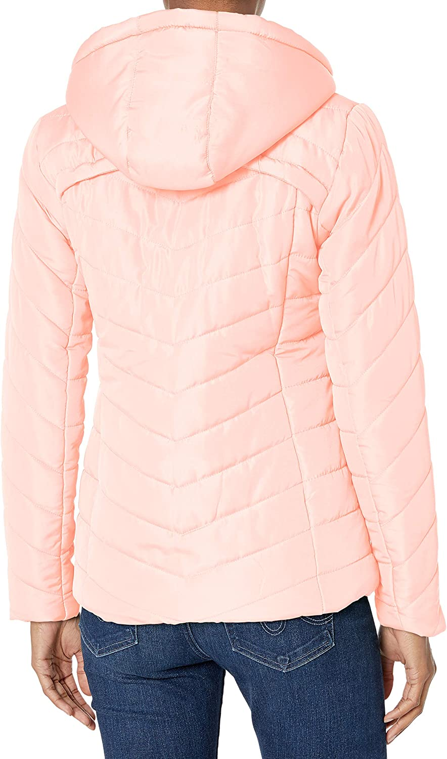 Pink Platinum Womens Water Resistant Hooded Quilted Puffer Jacket