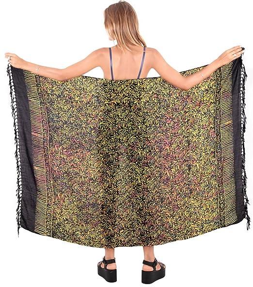 "e4ce8ec50d LA LEELA Rayon Hawaiian Suit Girl Wrap Sarong Printed 62""X43""  Black_4891"