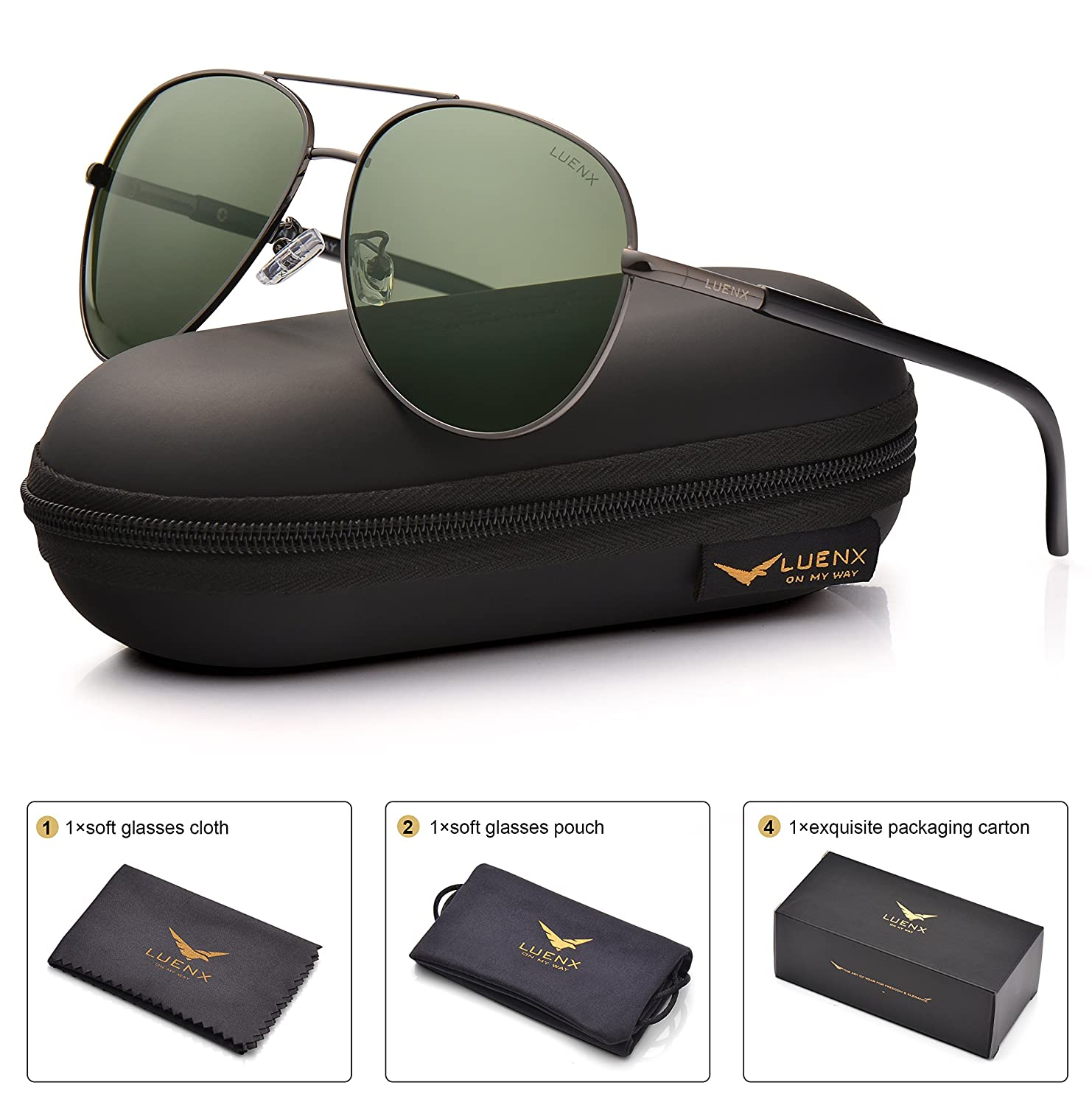 LUENX Mens Aviator Sunglasses Polarized : UV 400 Protection with Case 60MM 60) 1617-14