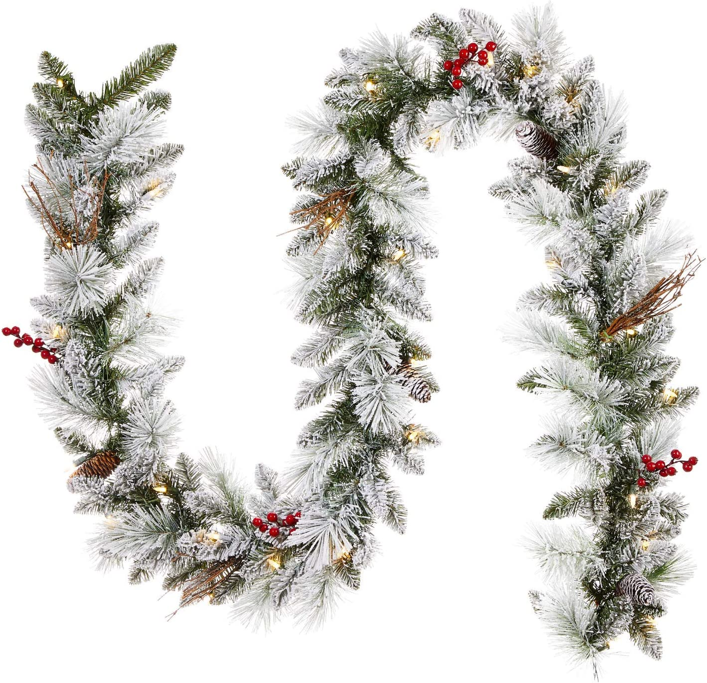 NOMA Pre-lit 9-Ft LED Berry Flocked Christmas Garland with Battery Operated Lights | 35 Warm White Bulbs | 162 Pine Tips
