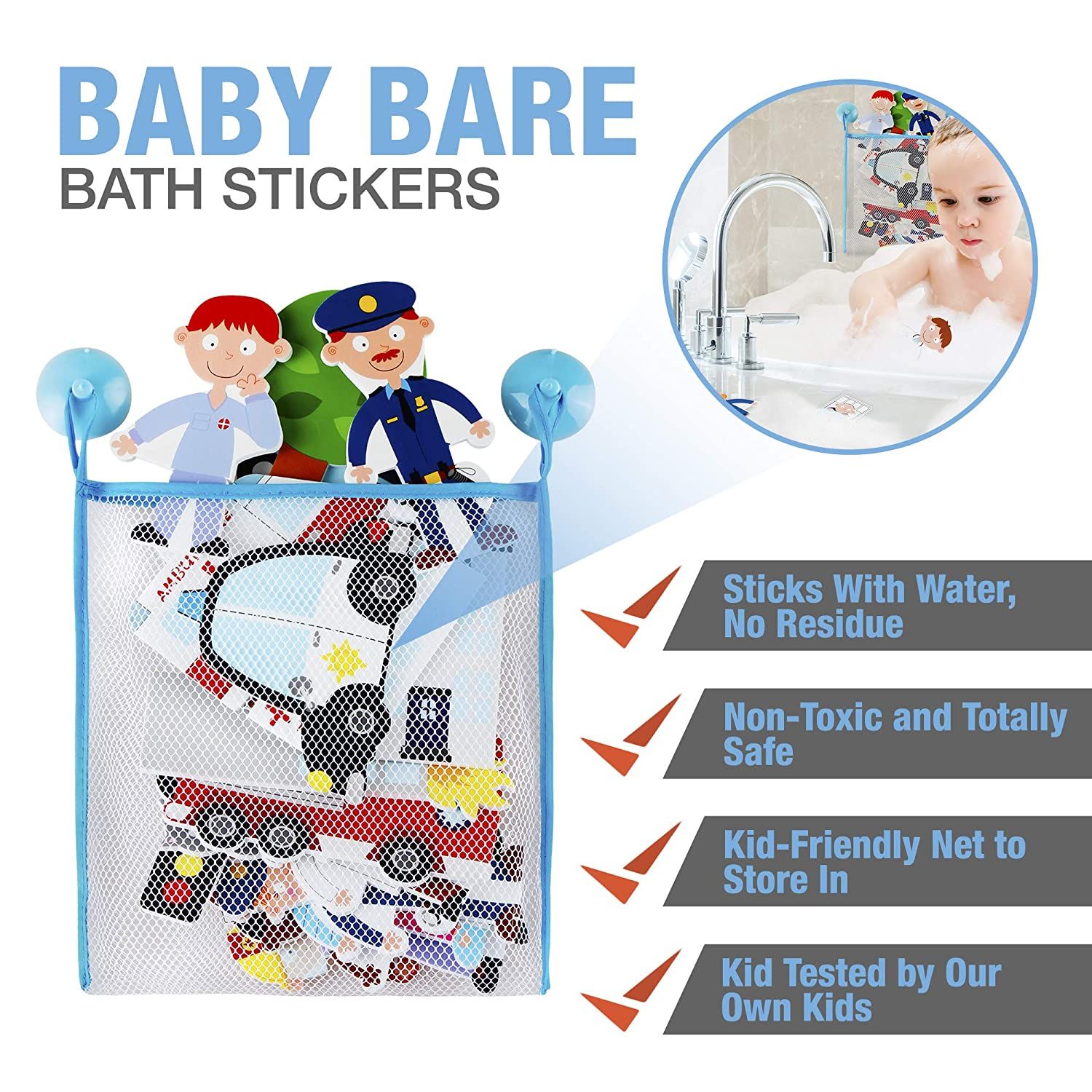 Doctors and Firefighters Non Toxic and Safe Foam Bath Toys for Boys and Girls Ages 3 Years Includes Storage Bag Rescue Friend Shapes That Stick with Water to Tub and Tile Features Police