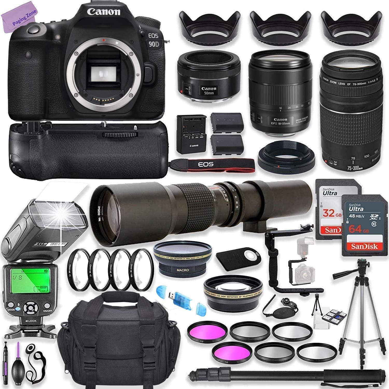 Canon EOS 90D DSLR Camera w/ 18-135mm Lens Bundle + Canon 75-300mm III Lens, Canon 50mm f/1.8 & 500mm Preset Lens + 96GB Memory + Battery Grip + Speedlight Flash + Commander Optics Professional Bundle
