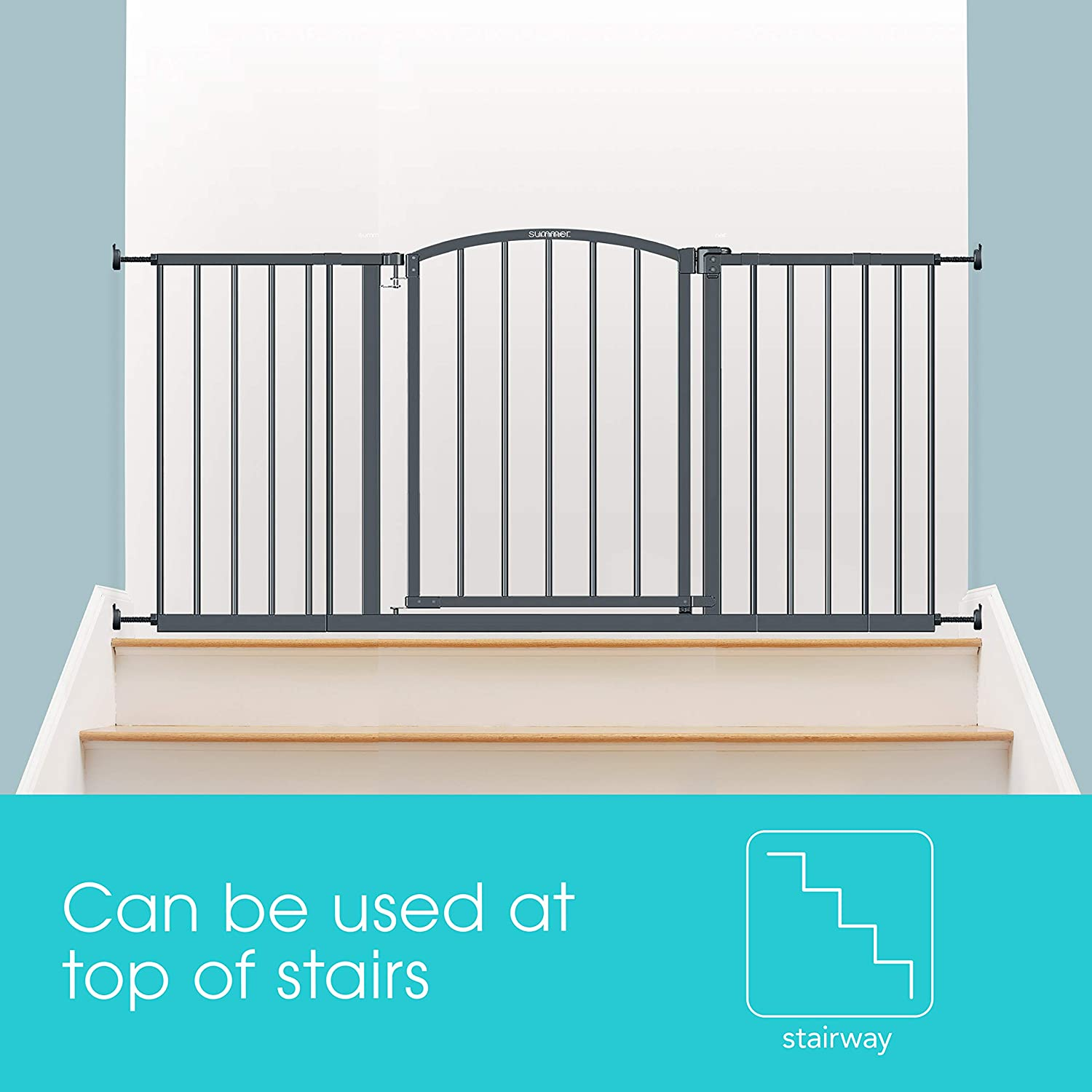 """Fits Openings of 28/"""" to 51.5/"""" Wide Summer Extra Wide Decor Safety Baby Gate Baby and Pet Gate for Extra Wide Doorways Gray 27/"""" Tall 20/"""" Wide Door Opening"""
