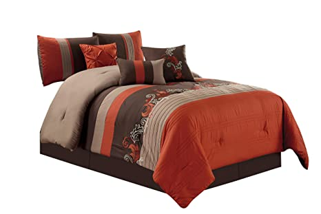 7-Piece Floral Leaves Scroll Embroidery Rust Orange Taupe Brown Comforter Set