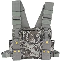 GoodQbuy Universal Radio Harness Chest Rig Bag Pocket Pack Holster Vest Fluorescent Green for Two Way Radio