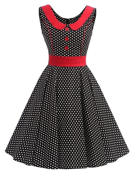 VKStar® Vestido retro para mujer, años 50 y 60, para verano