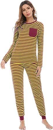 Aibrou Conjunto Familiar de Pijamas de Navidad Camiseta de Manga Larga + Pantalones Largos Ropa de Dormir a Rayas Suave para Papá Mamá Niños