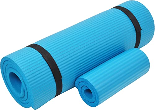 Everyday Essentials 1 2-Inch Extra Thick High Density Anti-Tear Exercise Yoga Mat with Knee Pad and Carrying Strap