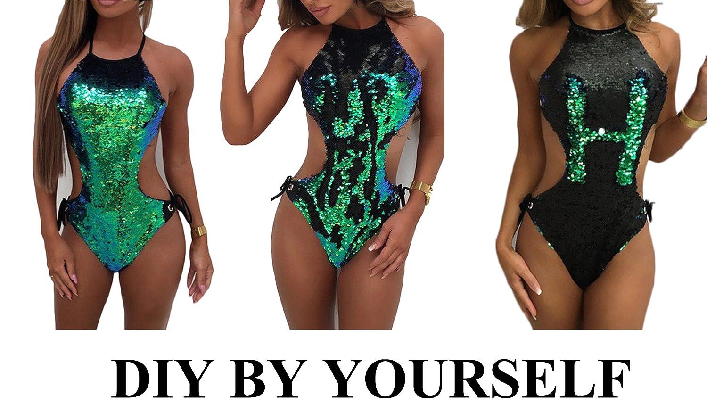c1e58f18b8d95 Dovee Women's One Piece DIY Gradient Color Glitter Bandage Halter Sparkly  Sequin Jumpsuit Swimwear Swimsuit Bathing Suits at Amazon Women's Clothing  store: