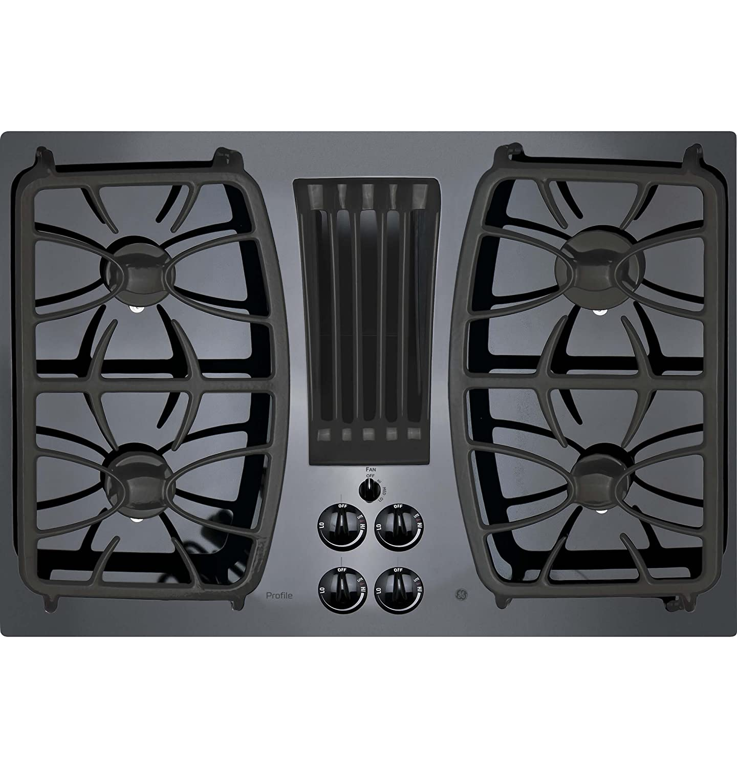 "GE PGP9830DJBB Profile 30"" Black Gas Sealed Burner Cooktop - Downdraft"