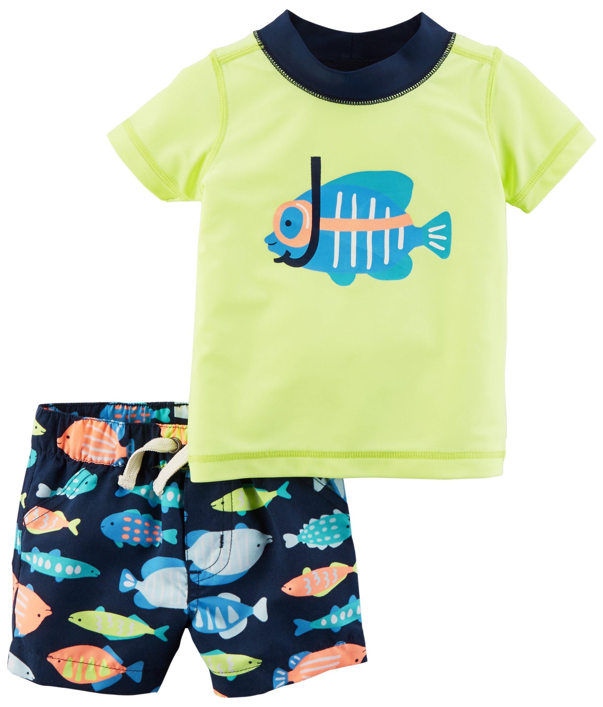 Carter's Boys' Rashguard Swim Set, Yellow Fish, 9