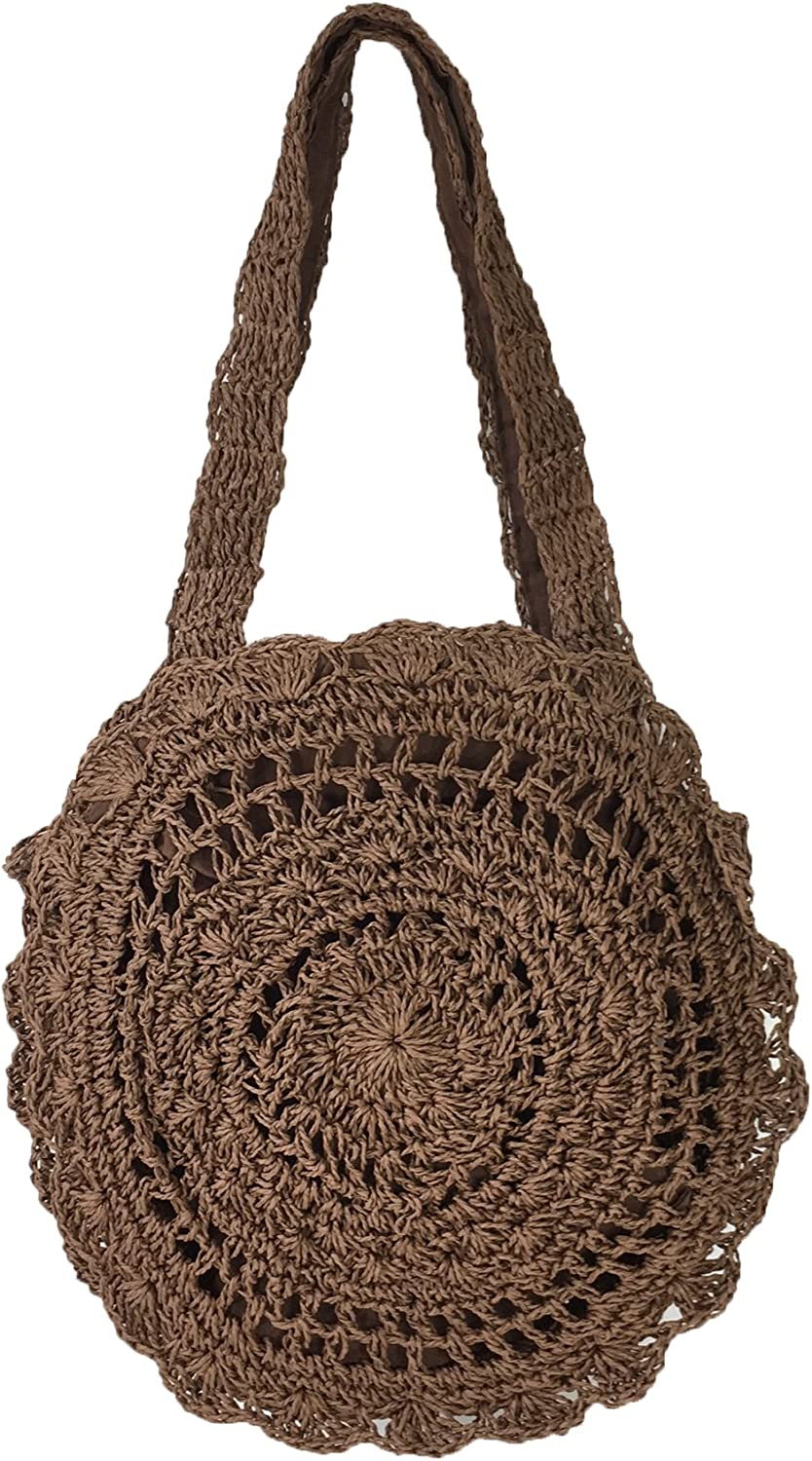 Brown Fashion Culture Macrame Straw Round Tote