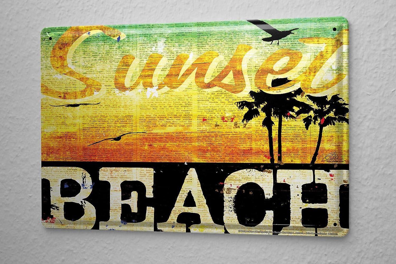 Amazon.com: M.A. Allen Retro Tin Sign U.S. Deco Sunset Beach Los ...