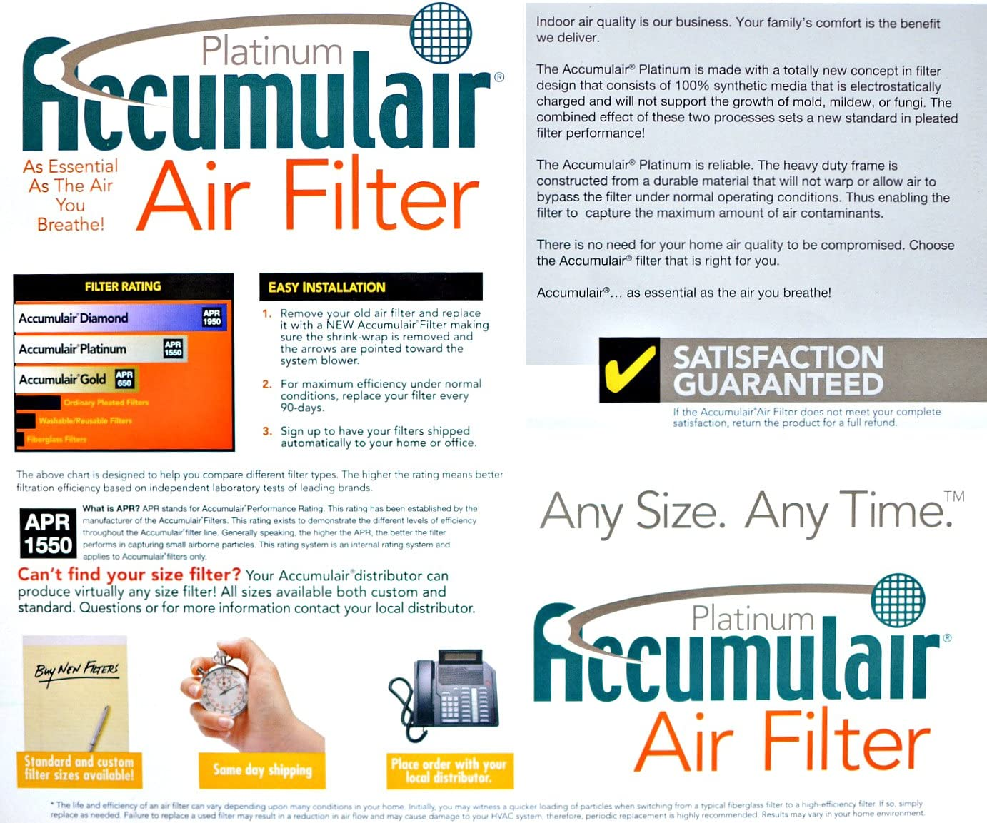 MERV 11 Air Filter//Furnace Filter 3 Pack Actual Size Accumulair Platinum 14x28x1