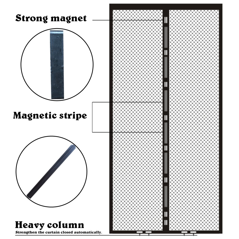 Heeku Magnetic Screen Door Top to Bottom Ultra Seal Magnets Shut Automatically and Keep Fresh Air in & Bugs Out Fits Door Size 36''x80''
