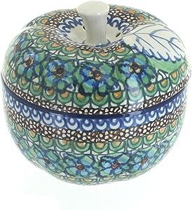 Blue Rose Polish Pottery Mardi Gras apple Baker