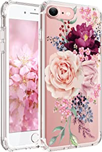 JAHOLAN Cute Girl Floral Design Clear TPU Soft Slim Flexible Silicone Cover Phone Case Compatible with iPhone 7 iPhone 8 - Pink Rose Flower