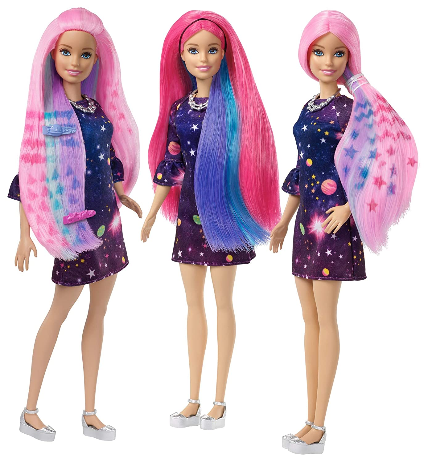 0f86be2e27fb9 Barbie FHX00 FASHION AND BEAUTY Feature Doll Colourful Long, Pattern  Activated Hair and Fabulous Accessories