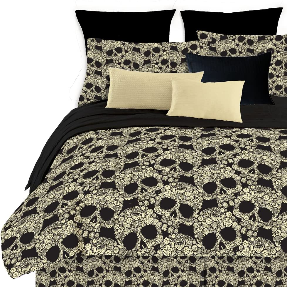 Veratex Soft Luxury Youth 100% Polyester Shell Fully Reversible 3-Piece Modern Flower Skull Comforter Set, King Size, Multicolor