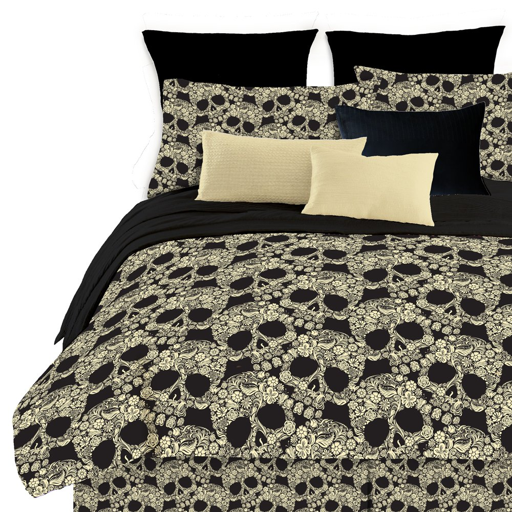 Veratex Flower Skull King Comforter Set, Multi