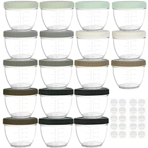 Youngever 18 Sets Baby Food Storage, 4 Ounce Baby Food Containers with Lids, 9 Urban Colors, with Lids Labels