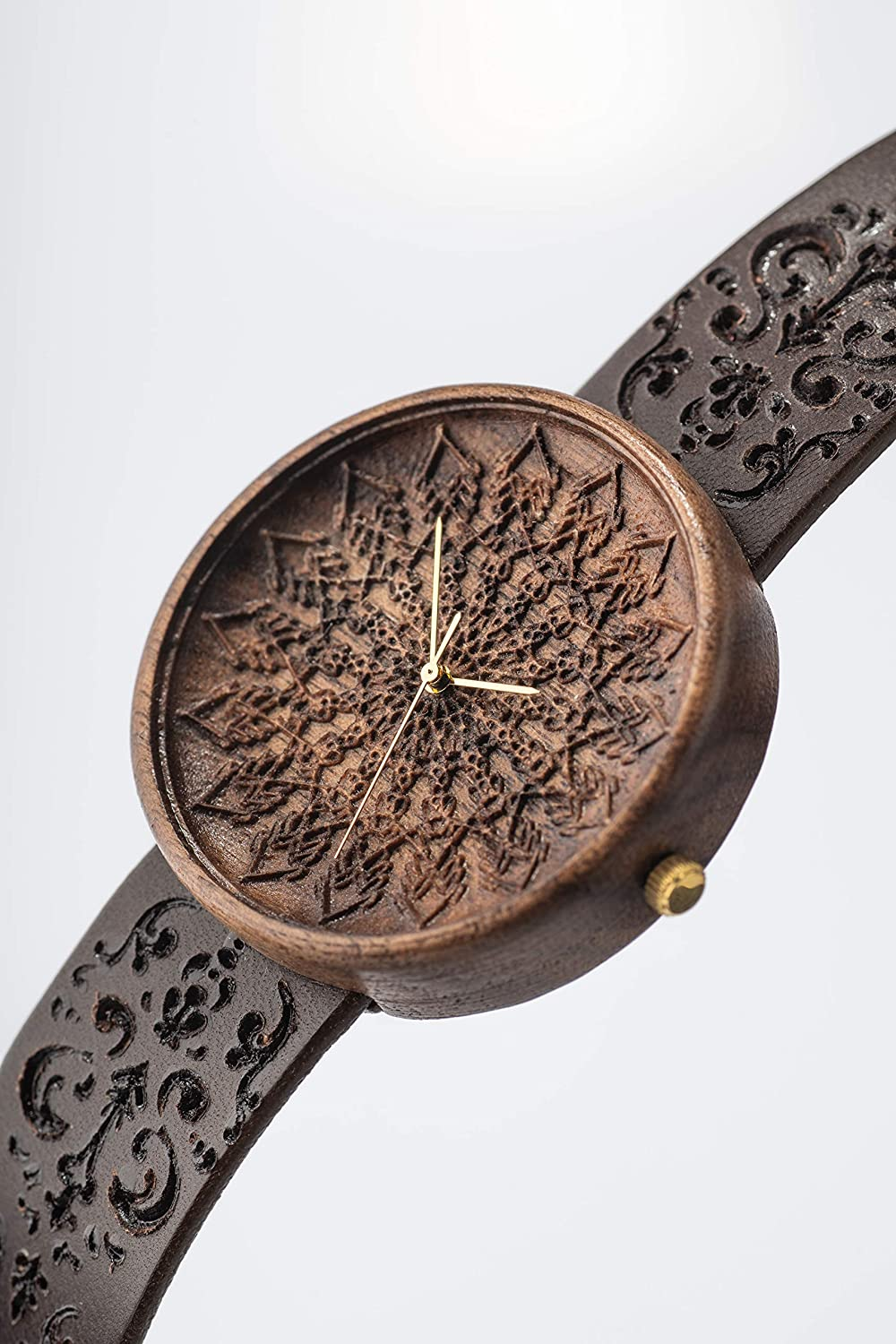 0338b231f Amazon.com: Mens Engraved Wooden Watch Zelus, Swiss Movement, Engrave Watch  Strap, Sustainable & Natural Gift, Lightweight, Walnut, Handcrafted by Ovi:  ...