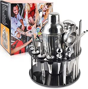 Bartender Kit Bar Tool Set Cocktail Shaker Set with Rotating Stand 20 Piece Perfect Home Bartending Kit and as Best Gift or for Home